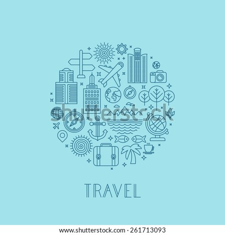 Vector travel logos and icons in outline style - holiday and vacation signs