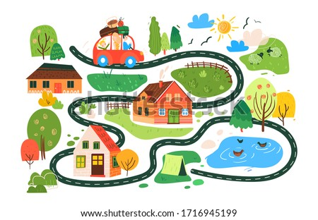 Vector travel map for children, traveling family on a picnic on the way through town with houses and lawns to camping tent near lake. illustrations in child drawing style with small houses, lambs