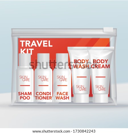 Vector Travel Mini Tubes & Bottles Toiletries Set in Clear Plastic Zip Lock Bag with Orange Backing Card. Photo stock ©