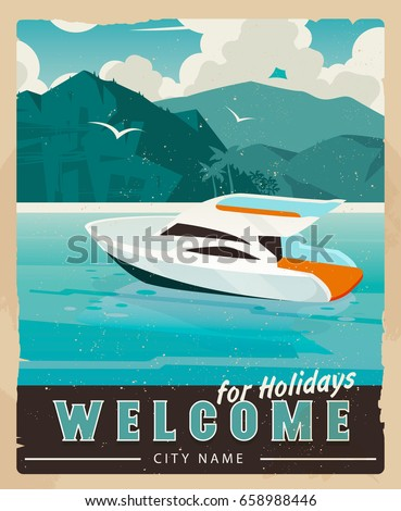 vector travel poster in vintage ...