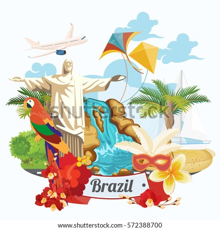 Vector travel poster of Brazil with colorful modern design, brazilian landscape and monuments. Rio de Janeiro advertising card with statue of Jesus. Carnival of Samba.