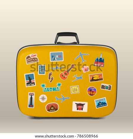 Vector travel stickers, labels with famous countries, cities, monuments and symbols on suitcase in retro vintage style isolated on white. Includes Italy, France, Russia, USA, England, India, Japan etc