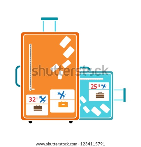 vector travel tourist bag isolated icon - suitcase illustration sign . hotel bag sign symbol