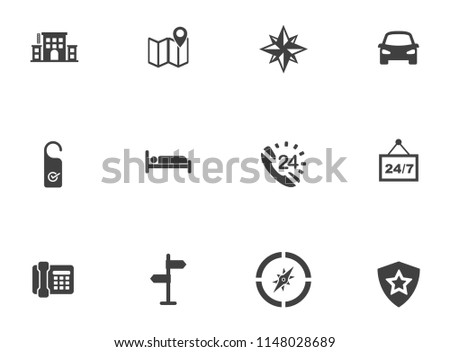 vector travel, vacation and tourism icons, hotel icons