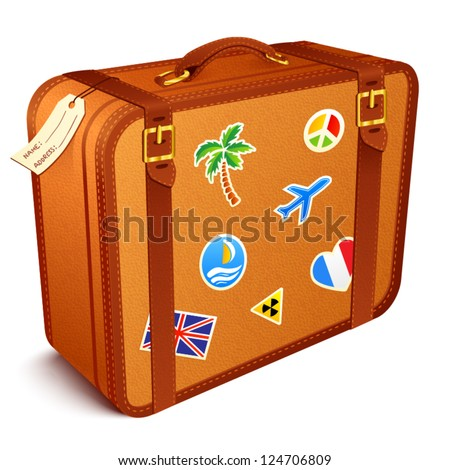 Vector traveler's brown vintage leather suitcase with stickers