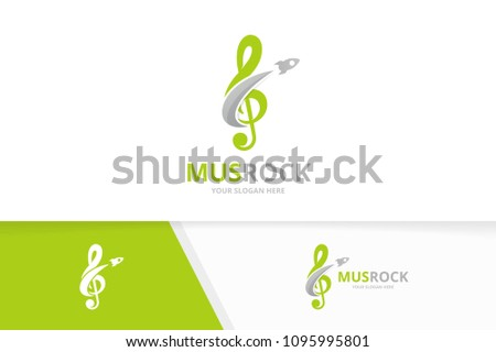 Vector treble clef and rocket logo combination. Music and airplane symbol or icon. Unique sound and flight logotype design template.