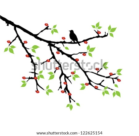 tree branch with leaves vector. vector tree branch with flower, leaves and a bird b