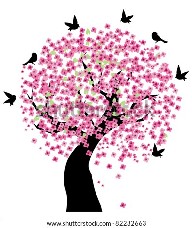 vector tree in blossom with black birds