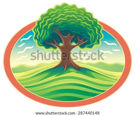 vector tree in frame nature