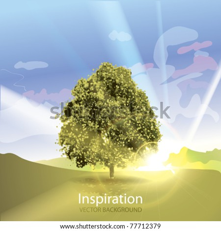 vector tree in sunrise with sun
