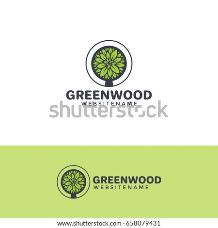 Vector tree logo template. Horizontal and vertical versions.