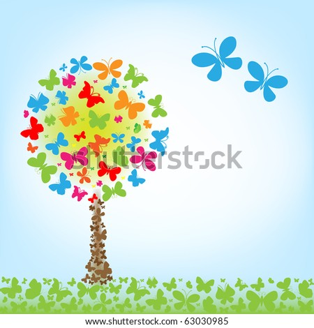 vector tree of butterfly, vector background.