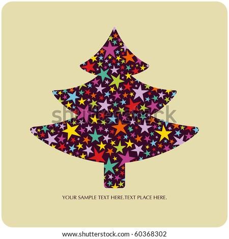 vector tree of christmas card