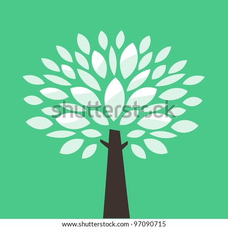 Vector tree on green background