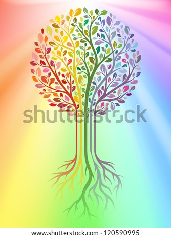 Vector tree on rainbow background