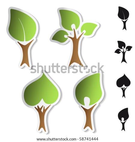 Vector tree stickers - bio symbols