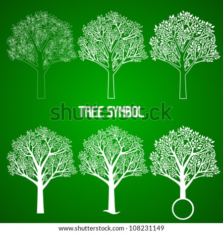 vector tree symbol in 6 variations,