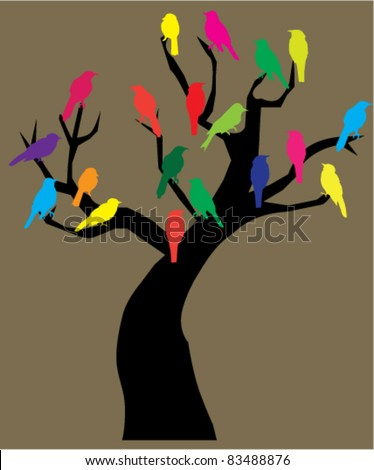 vector tree with birds - stock vector