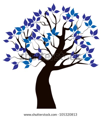 vector tree with blue leaves