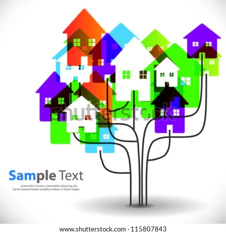 Vector tree with houses background
