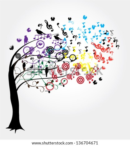 vector tree with musical notes and birds