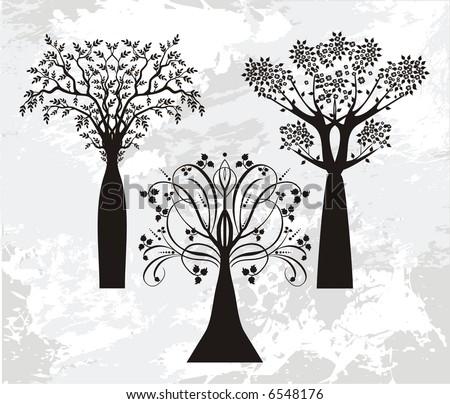vector trees - stock vector