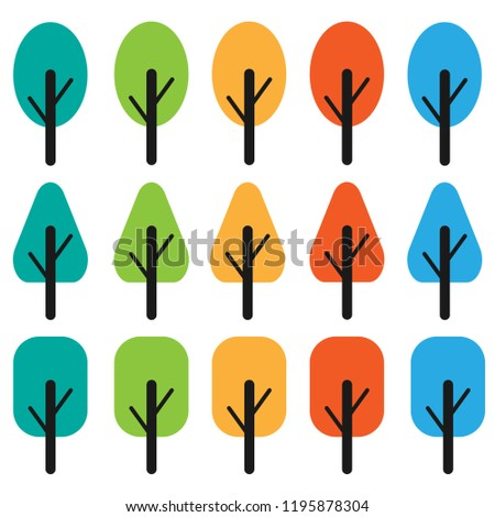 Vector trees all season illustrations. Can be used to illustrate any nature or healthy lifestyle topic.