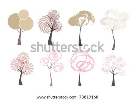 Vector trees. Art icons of trees isolated on white background.