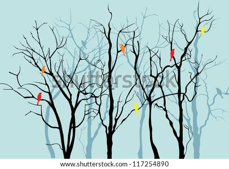 Vector Trees Silhouettes
