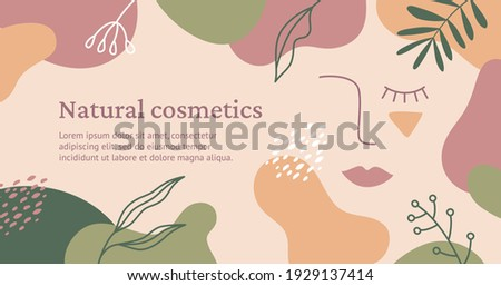 Vector trendy banner for the beauty industry. Natural cosmetics concept. Illustration with a linear surreal portrait of a woman, abstract color spots and floral elements in natural colors.