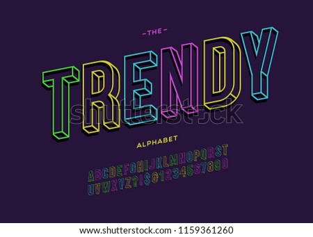 Vector trendy bold typeface 3d typography sans serif for promotion, party poster, t shirt, sale banner, printing on fabric, decoration. Cool modern alphabet. Creative font. 10 eps