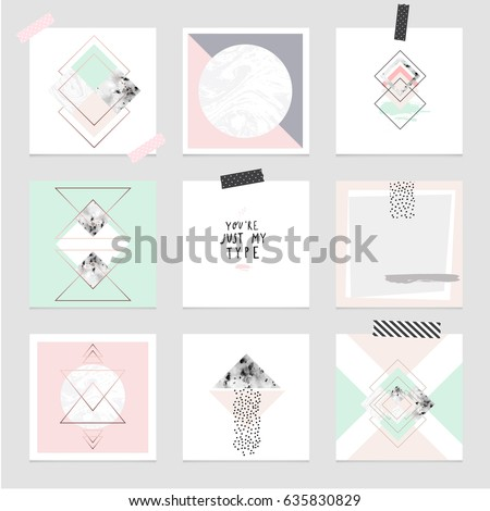 Vector trendy geometric posters. Modern set of abstract card, template, covers or layouts