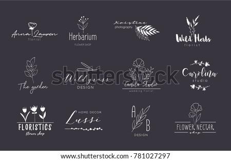Vector trendy hand drawn beauty, organic cosmetics, florist, photography, wedding logos, badges, emblems, logotypes. Big collection of elegant plant, floral logos.