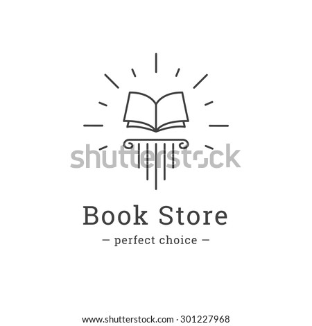Vector trendy line style book store logo. Book on the greek column logotype.