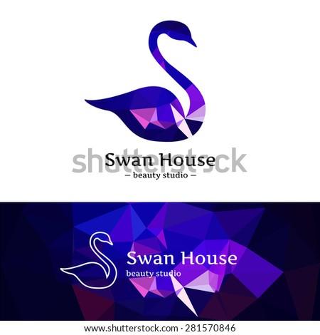vector trendy low poly swan