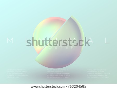 Stock Photo Vector Trendy Minimal Poster. Pastel Vibrant Background with Futuristic 3D Shape. Creative Minimalist Template for Interior Poster, Flyer, Music Cover, Wallpaper, Banner, Placard. Neon Colors.