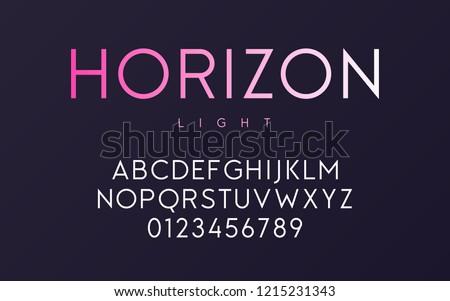 Vector trendy minimal sans serif light font design, alphabet, typeface, letters and numbers.