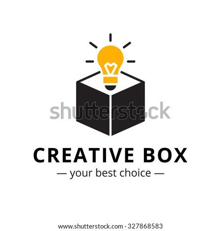 Vector trendy minimalistic light bulb in a box logo ストックフォト ©