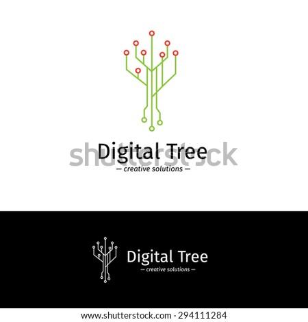 vector trendy outline digital