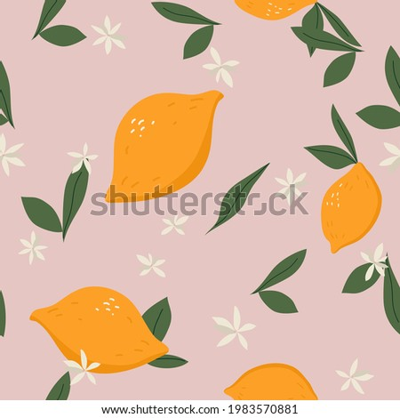 Vector trendy pattern in doodle hand drawn style. Cute lemons on pink background. Seamless summer texture