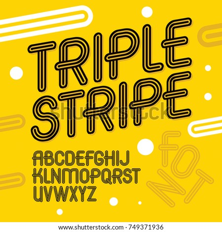Vector trendy retro uppercase alphabet letters collection. Disco type font, script from a to z can be used for logo creation. Created using triple stripy, parallel lines.