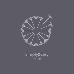 Vector trendy transparent gray icon and logo on a dark background of blowing dandelion seeds flower for spa massage studio, cosmetics, fashion. Template for business brand