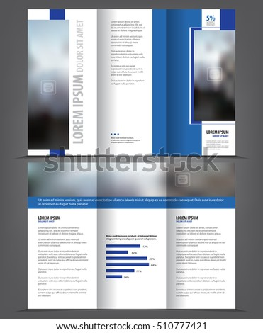 Vector tri fold brochure template design, concept business trifold leaflet, 3 folded blue vector flyer layout