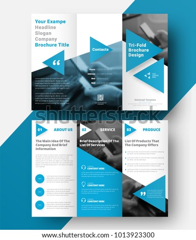 Vector tri-fold brochure with a place for photos, diagonal elements and blue triangles for headings and quotes. Design of a folding universal flyer. Modern template