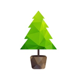 Vector triangle green tree (fir) in pot. Happy new year.