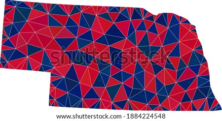 Vector triangle mosaic map of Nebraska State in American flag colors, blue and red. Geographic collage in blue and red color tinges. Photo stock ©