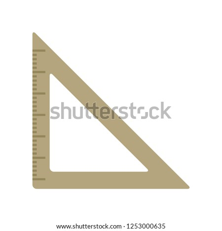 vector triangle ruler flat icon. school symbol isolated, drawing tool. measure instrument