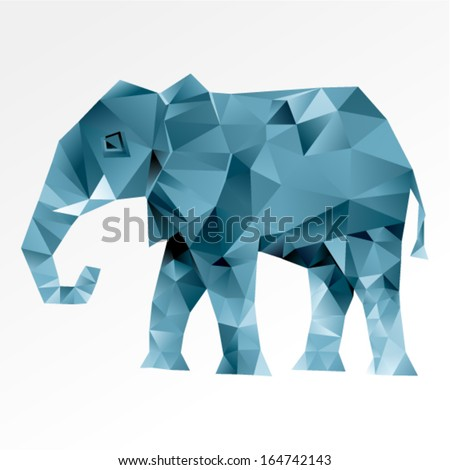 Vector triangular art - Elephant abstract isolated on a white backgrounds