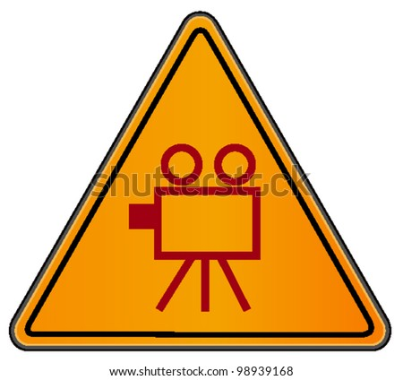 vector triangular road sign with video camera - stock vector