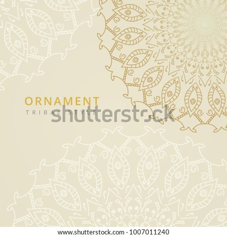 Vector tribal arabic design. Ornate element for design and place for text. Ornamental lace pattern for wedding invitations and greeting cards. Traditional golden decor on light background